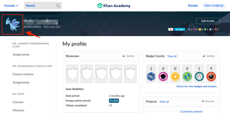 How do I change my avatar? – Khan Academy Help Center