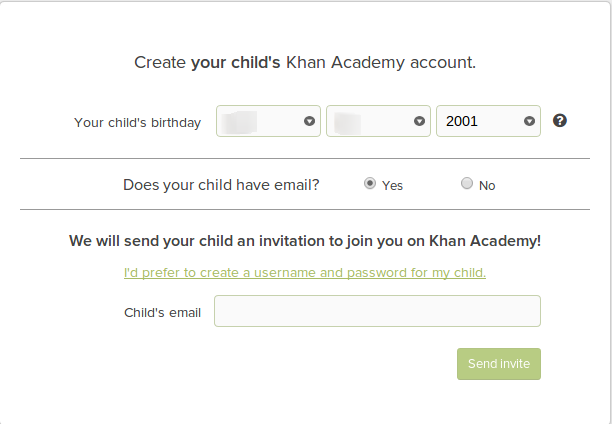 how to set up an email address for a child